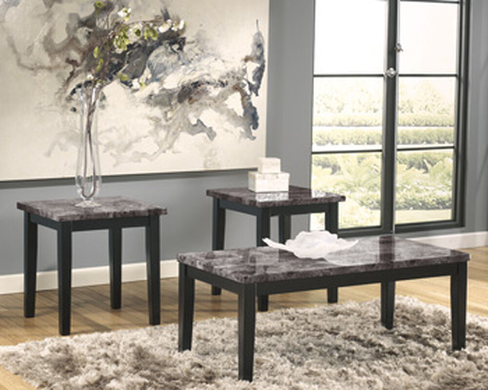Three-Piece Marble Printed Contemporary Occasional Table Set in Black