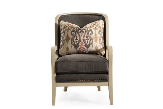 """Nailhead-Trimmed Traditional 27"""" Chair in Chocolate"""