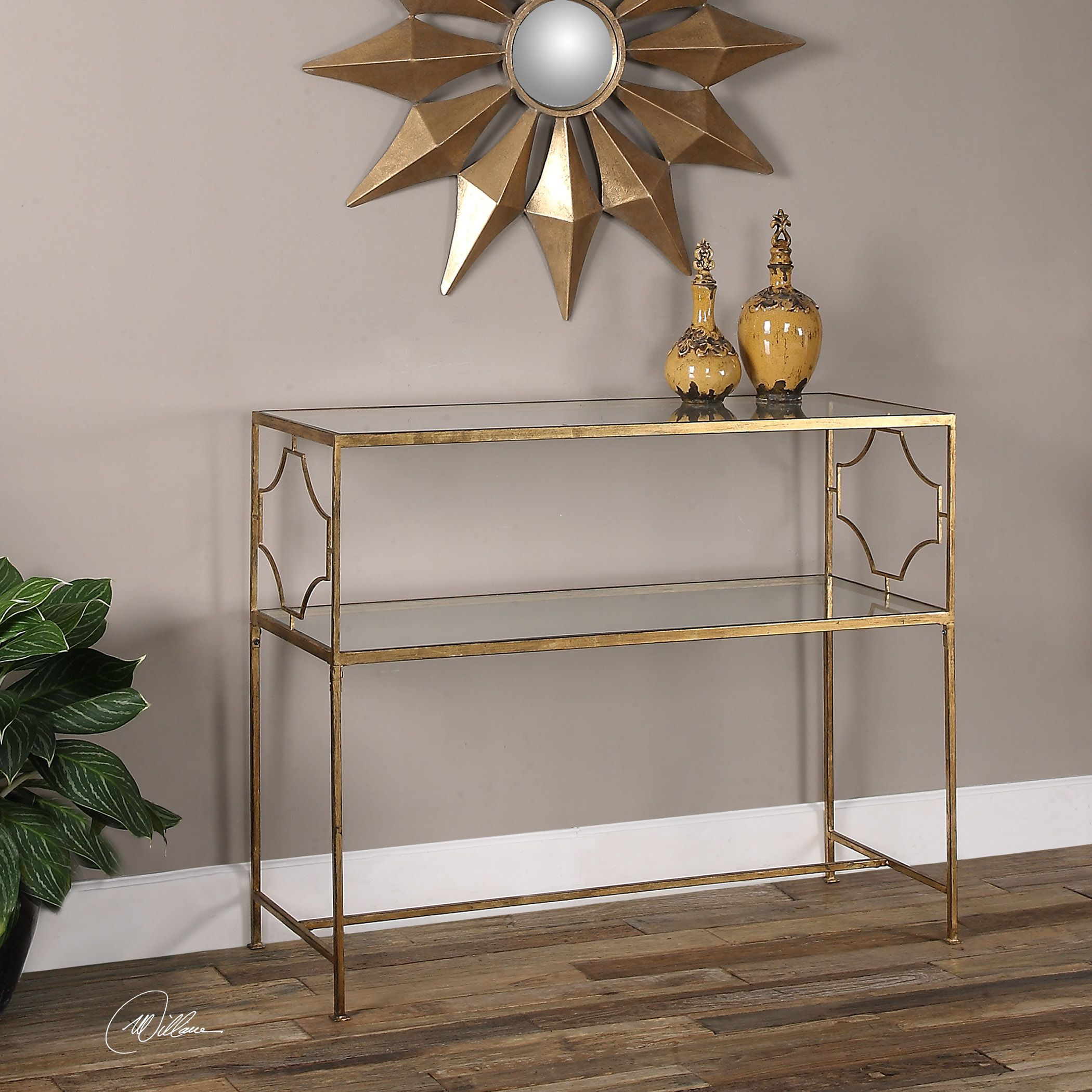 ... Rectangle Glass Top Console Table In Gold Leaf ...