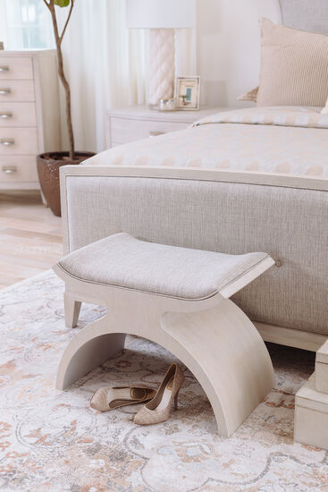 Arched Contemporary 26'' Bench in Cerused Linen