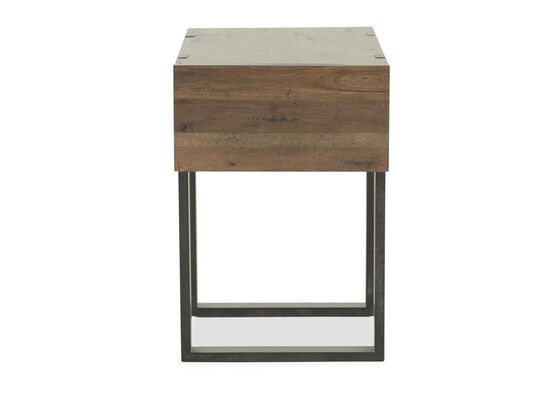 Industrial Storage Chairside End Table in Honey