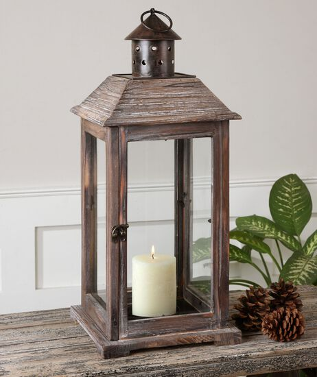 Weathered Lantern Candle Holderin Brown