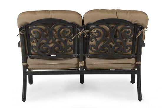 Button-Tufted Aluminum Loveseat with Cushion in Khaki