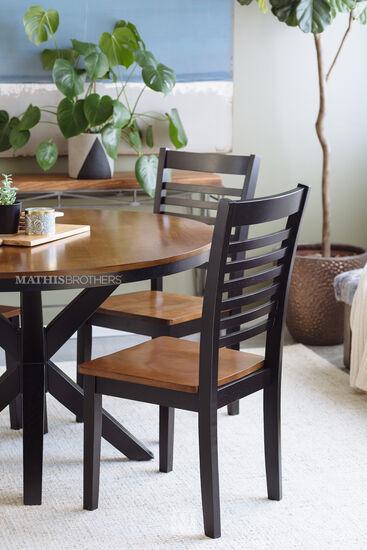 """48"""" Round Five-Piece Dining Set in Ebony & Oak"""