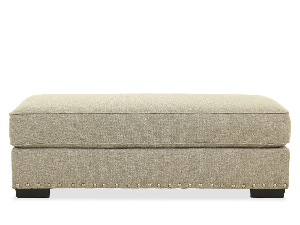 """Nailhead Accented Traditional 22"""" Ottoman in Gray"""