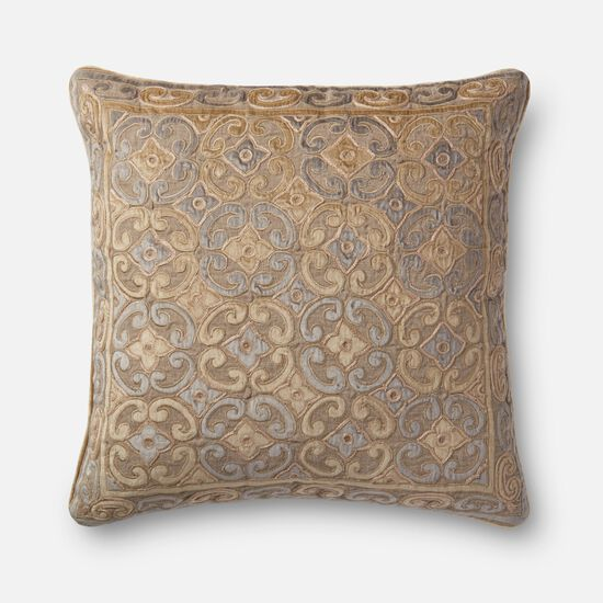 """Contemporary 22""""x22"""" Cover w/Down Pillow in Beige/Silver"""