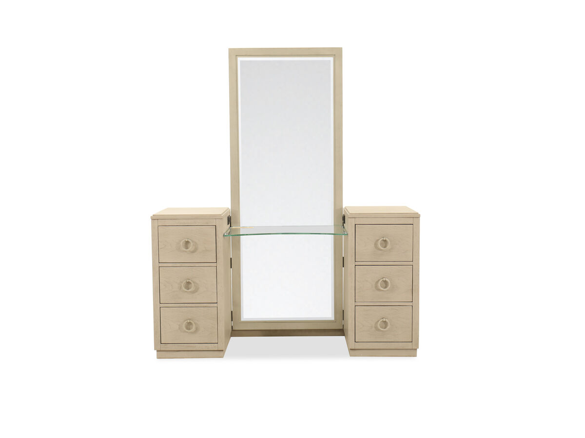 Two Piece Six Drawer Vanity Dresser And Mirror In Shadow Gray