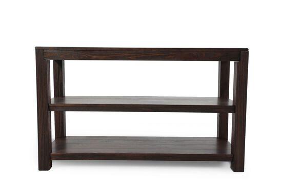 Two-Open Shelf Casual Console Table in Dark Walnut