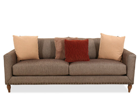 Nailhead-Accented Casual Sofa in Brown
