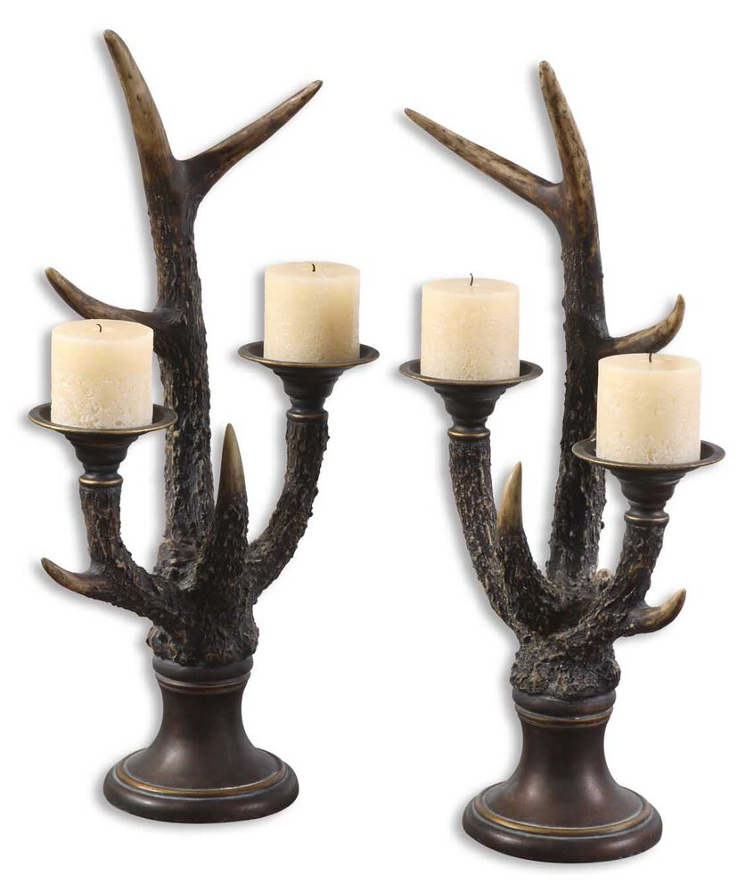 Two-Piece Stag Horn Candle Holder Set in Mahogany
