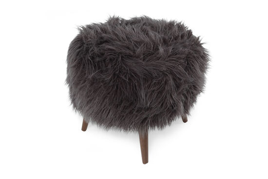 """Transitional 21"""" Round Footstool in Gray"""