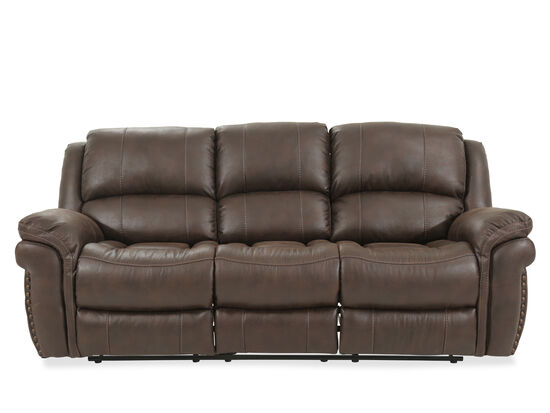 """Nailhead-Accented 86"""" Reclining Sofa in Brown"""