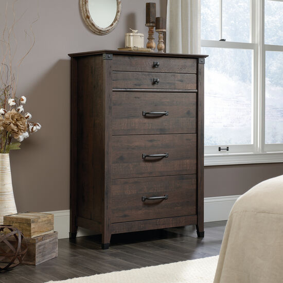 """48"""" Contemporary Planked Four-Drawer Chest in Coffee Oak"""