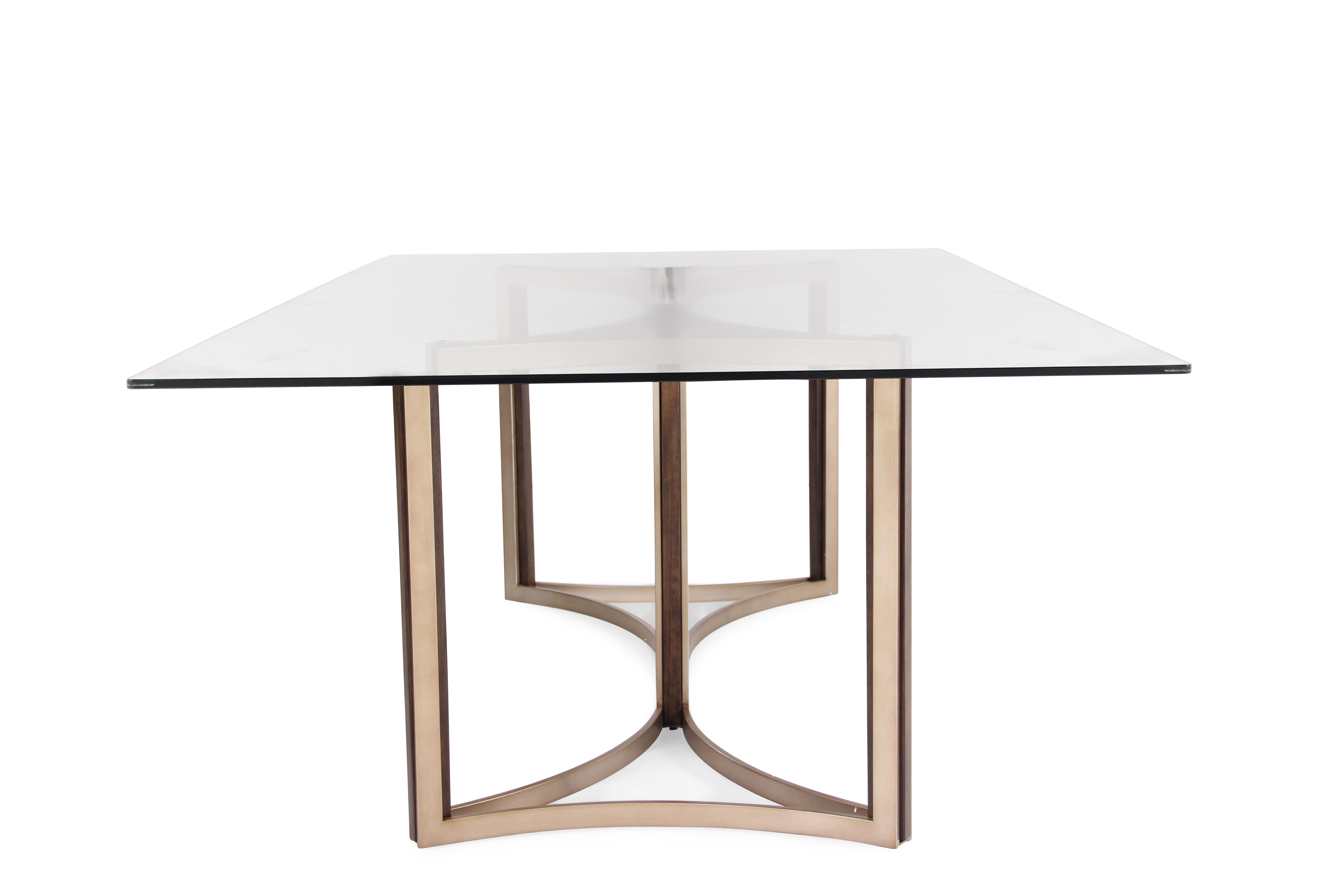 ... Contemporary 52u0026quot; Glass Top Dining Table In Matte ...