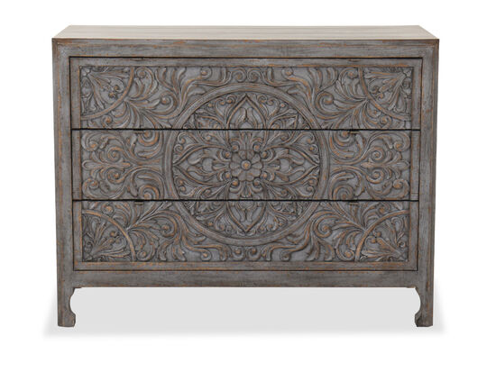 """44"""" Traditional Three-Drawer Chest in Light Blue/Brown"""
