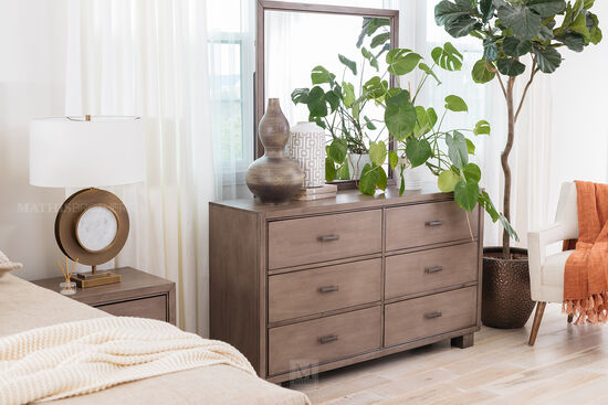 Two-Piece Contemporary Six-Drawer Dresser and Mirror in Smoky Gray
