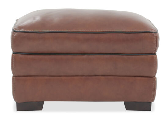 """Casual 30"""" Leather Ottoman in Brown"""