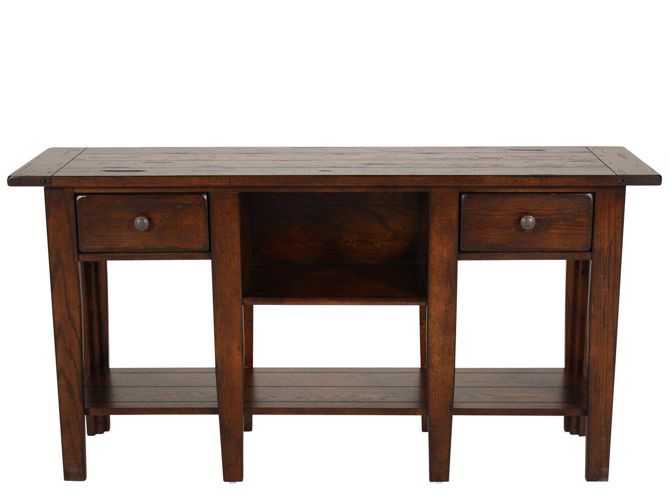 Two drawer country sofa table in dark oak mathis brothers furniture two drawer country sofa table in dark oak watchthetrailerfo