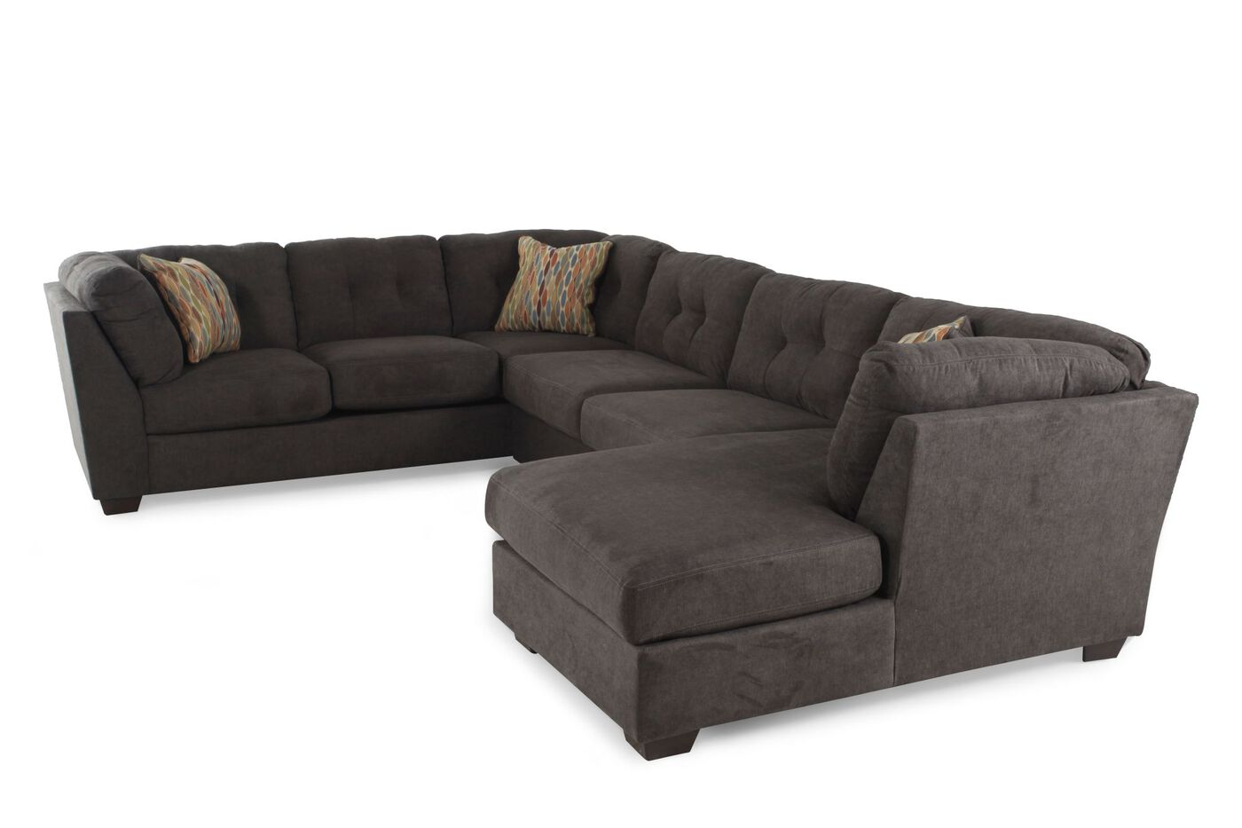 brown sectional living room three microfiber sectional in chocolate brown 12447