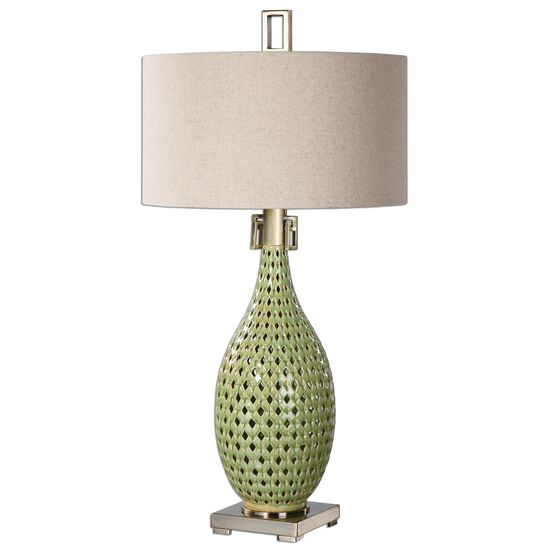 Hardback Shade Pierced Ceramic Lamp in Green