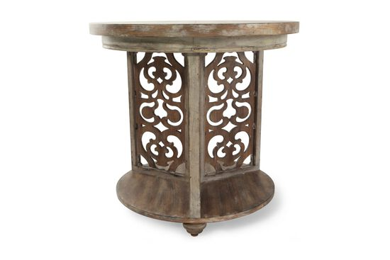 Traditional Scroll Round Accent Table in Brown