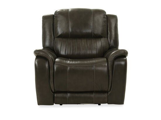 Contemporary Leather Power Recliner in Gray