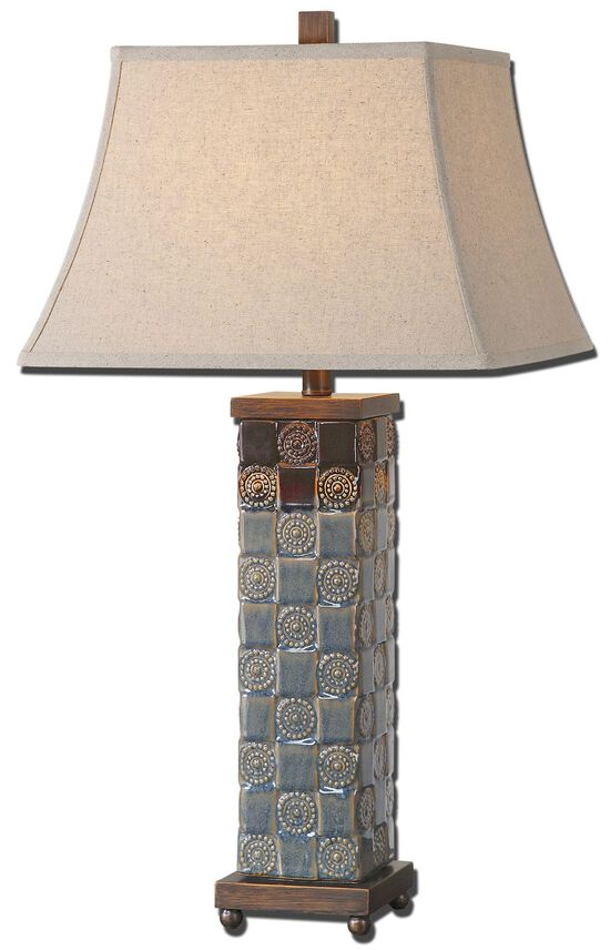 Textured Base Table Lamp in Dark Blue
