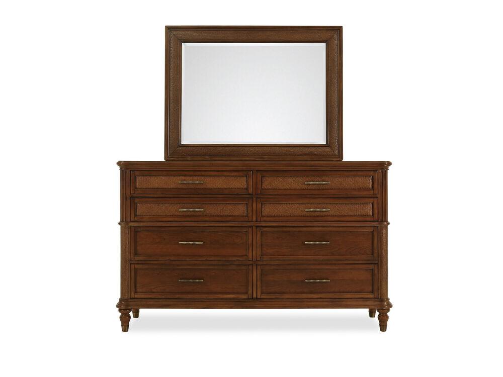 Two-Piece Basket Weave Textured Dresser and Mirror in Brown