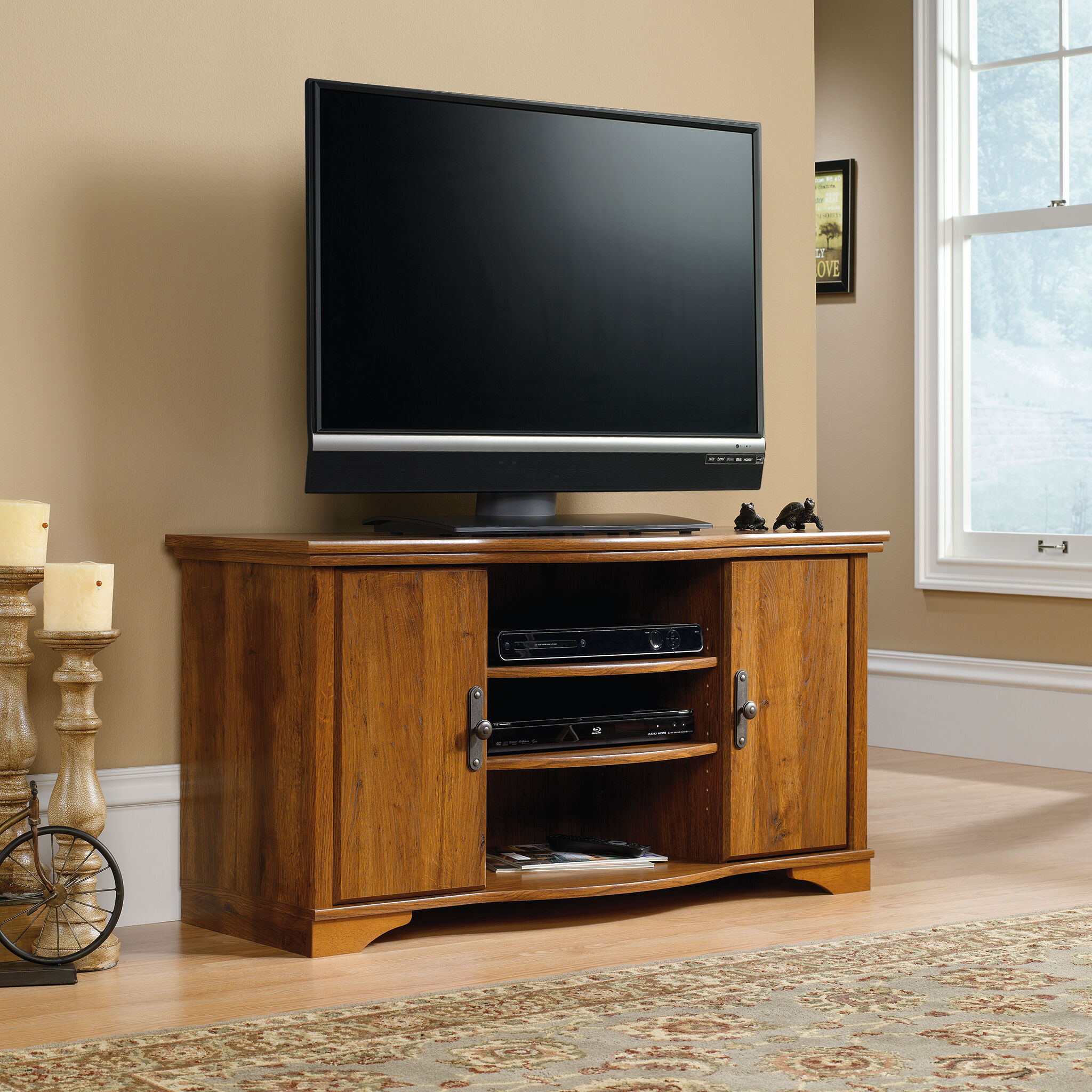Images Two Adjustable Shelf Transitional Entertainment Credenza In Abbey Oak