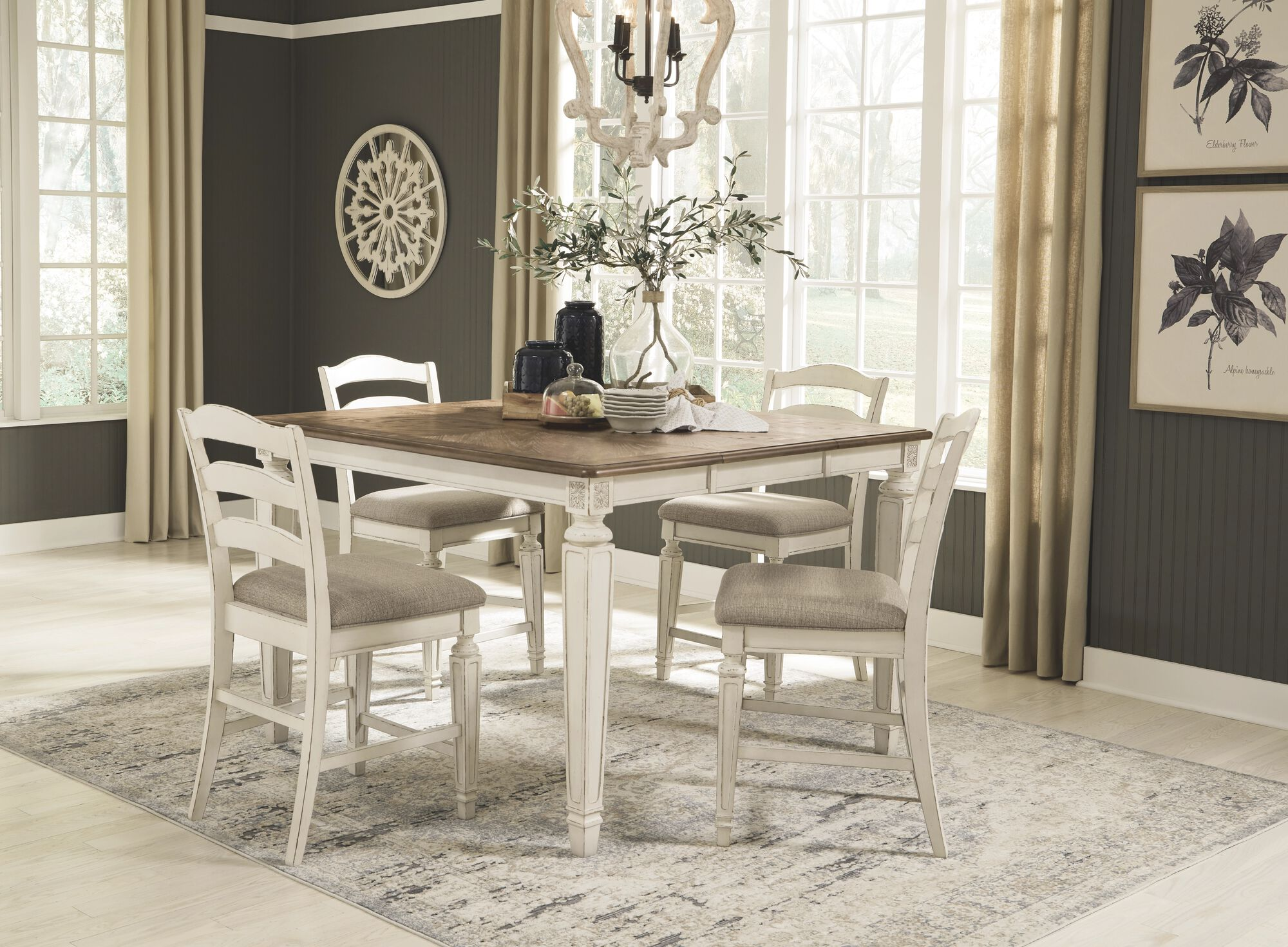 Realyn Two Tone 5 Pc Dining Room Counter Extension Table 4 Upholstered Bar Stools Mathis Brothers Furniture