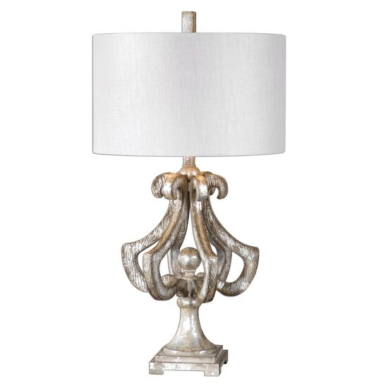 Distressed Ornate Table Lamp in Silver