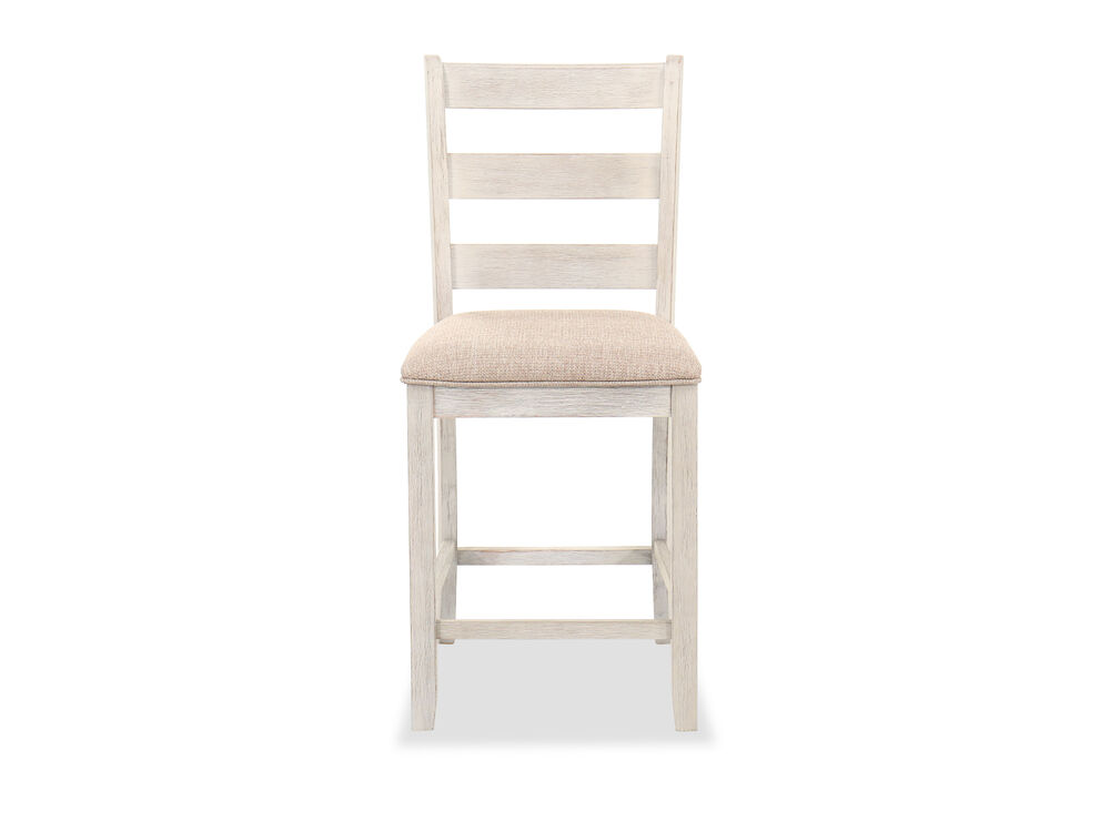 """Casual 41"""" Counter-Height Barstool in White/Brown"""