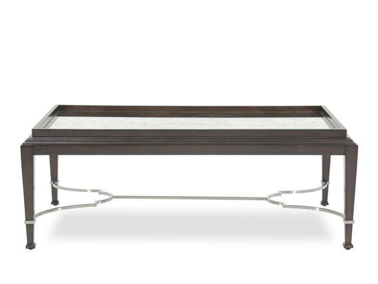 Industrial Glass Top Cocktail Table in Brown
