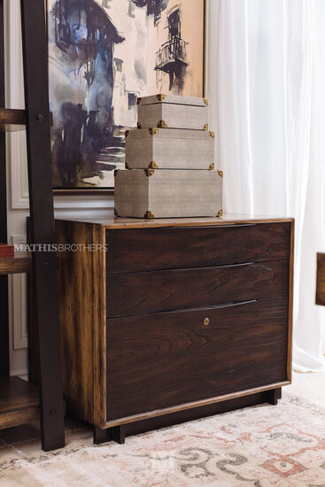 Three-Drawer Casual Lateral File in Dark Wood