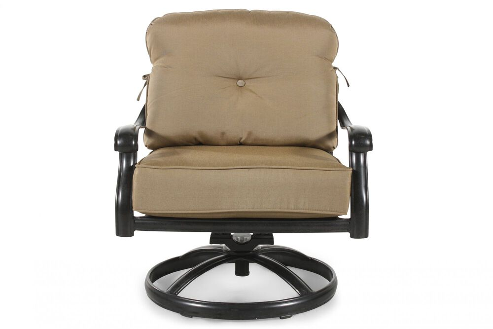 Curved Arm Aluminum Swivel Chair with Cushion in Khaki
