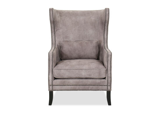 Wingback Leather 31'' Chair in Gray