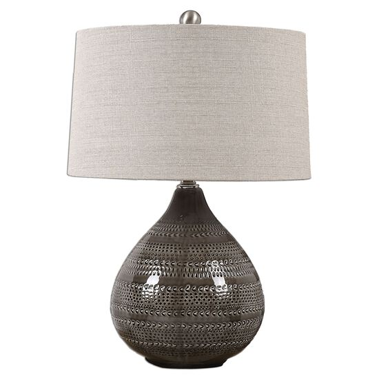 Textured Ceramic Lamp in Smoke Gray
