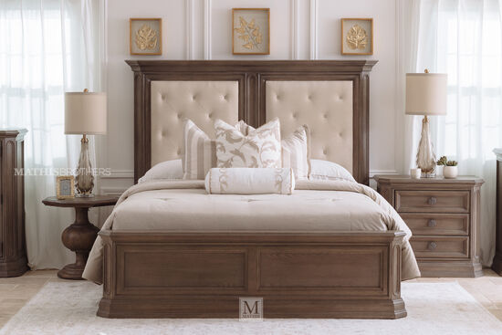 72'' Traditional King Panel Bed in Cobblestone