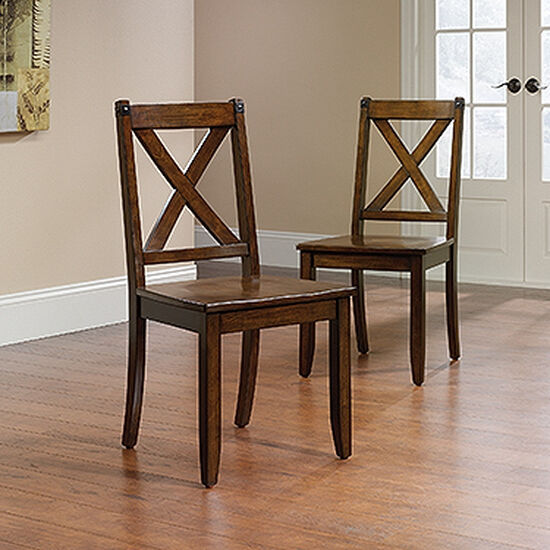 Two-Piece X-Back 36'' Dining Chair Set in Mahogany