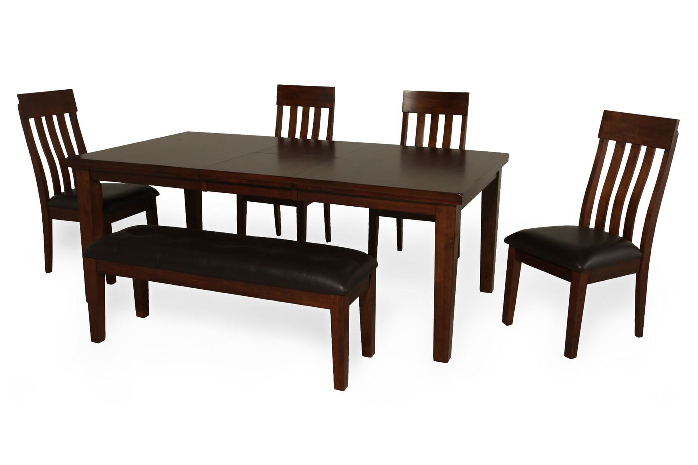 Six piece casual dining set in brown mathis brothers for Casual kitchen dining