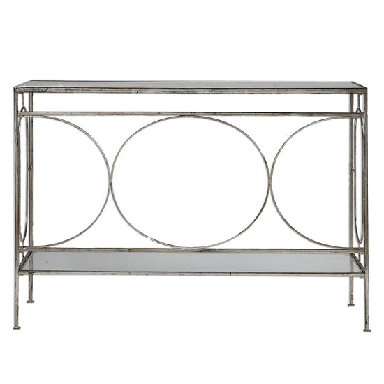 Geometric Accented Console Table in Antique Silver