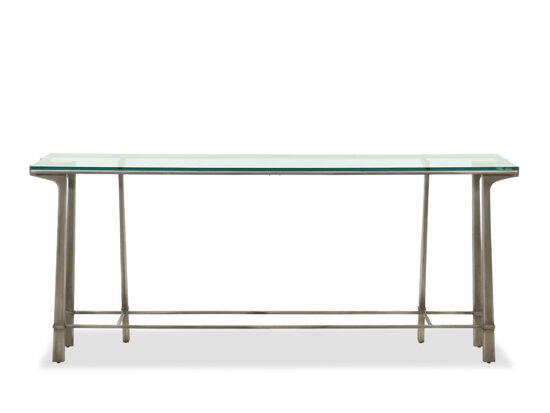 """72"""" Contemporary Rectangular Glass-Top Console Table in Silver"""