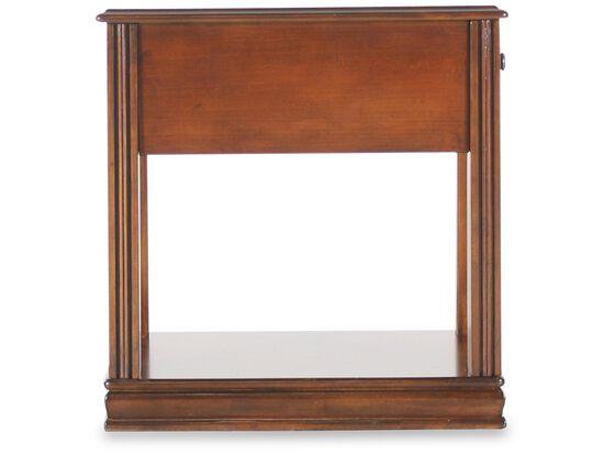 Rectangular Traditional Chairside Accent Tablein Medium Brown