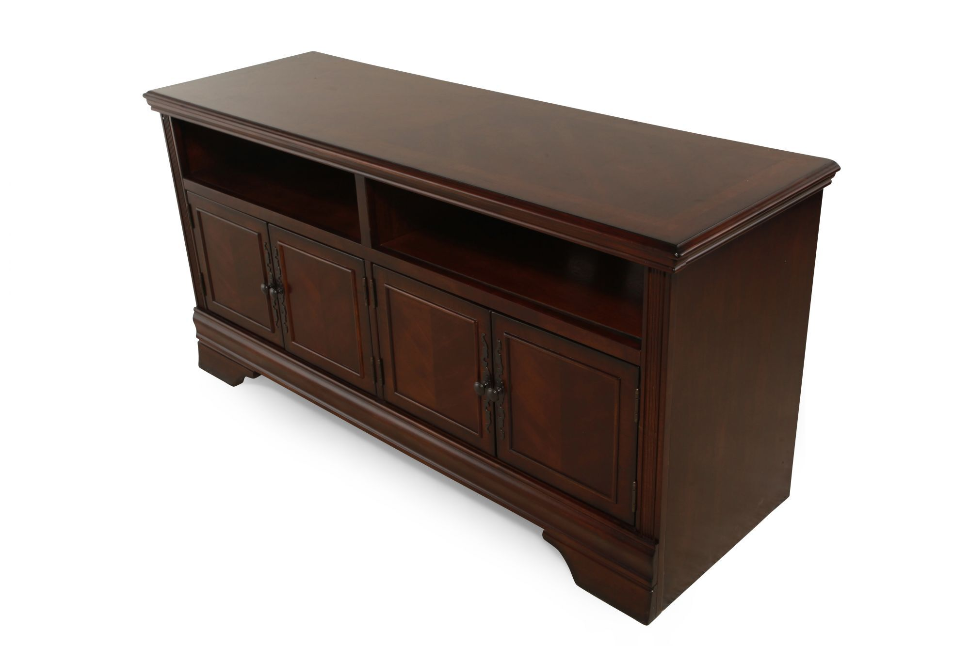 Four Door Traditional TV Stand In Brown Cherry