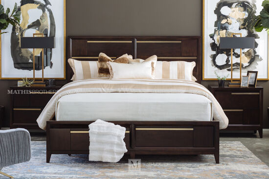 Four-Piece Contemporary King Bedroom Suite in French Roast