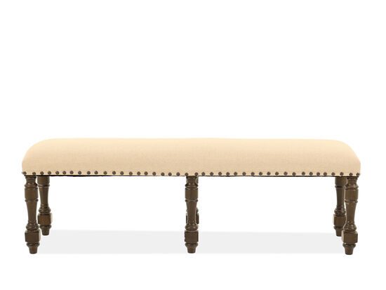"Traditional 60"" Nailhead Accented Bench in Warm Vanilla"
