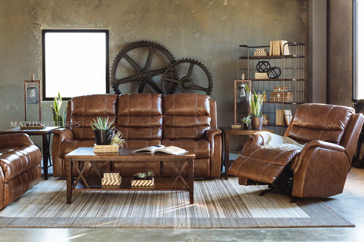 """5 Living Rooms That Prove The Power Of Symmetry: Power Reclining 82"""" Sofa With Adjustable Headrest In Brown"""