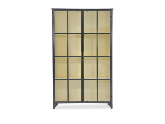 Transitional Framed Glass Door Display Cabinet in Matte Black
