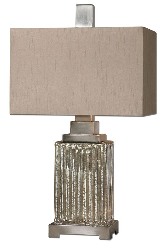Aluminum-Accented Ribbed Mercury Glass Table Lamp