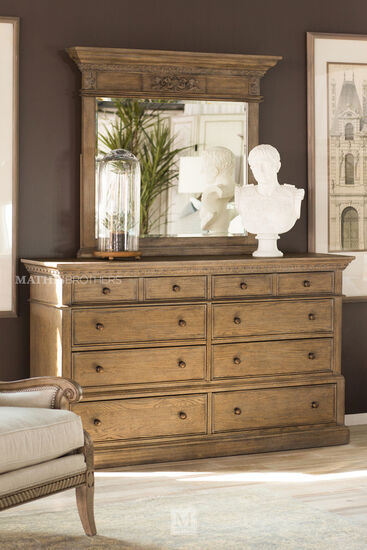Two-Piece Traditional Carved Dresser and Mirror in Aged Oak